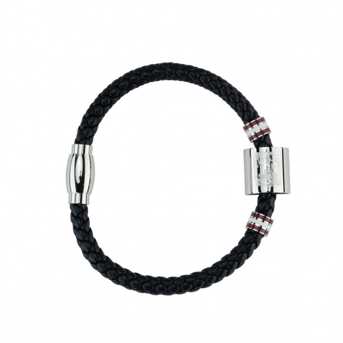 Northampton Town Black Leather Crest Bracelet
